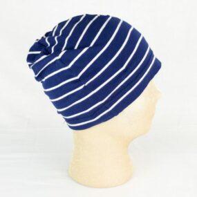 CUFFIA estiva Linea CUFFIOSE in leggero cotone blu a righe bianche di Nives Cosebelle