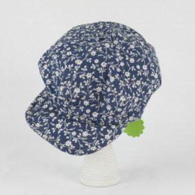 Berretto sartoriale FIORI NEWSBOY, cotone blu fiorellini CAPO UNICO