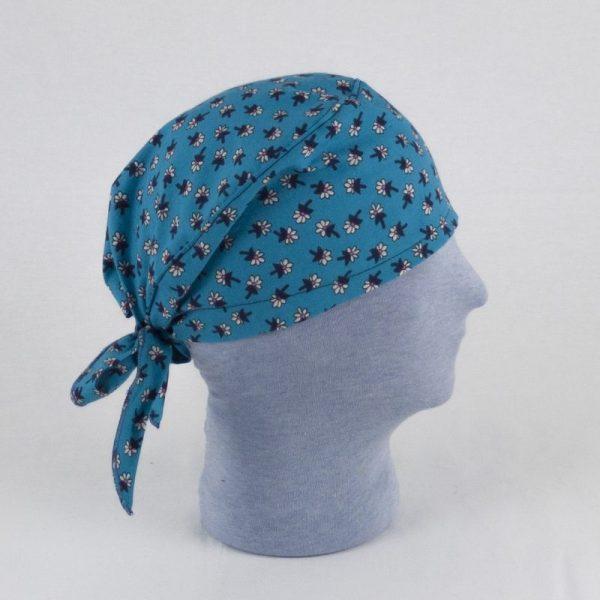 Bandana, cuffia professionale blu fiorellini NivesCoseBelle