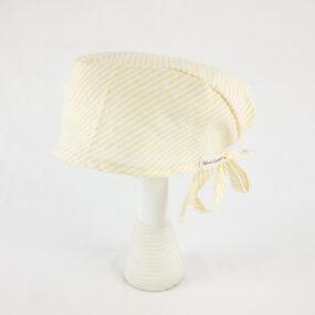 Bandana, cuffia professionale rigato giallo bianco NivesCoseBelle