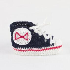 Scarpette neonato blu allstars BABY STAR portafortuna in cotone navy bebè NivesCoseBelle