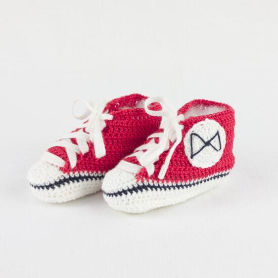 Scarpe neonato rosse portafortuna BABY STAR rosse in cotone NivesCoseBelle