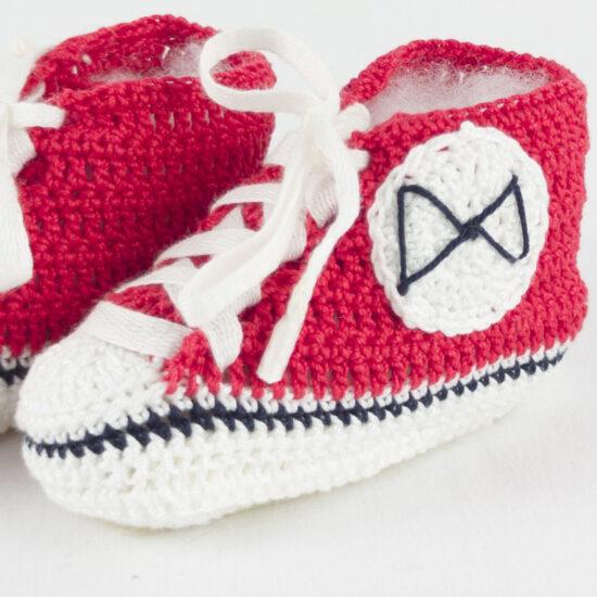 Scarpette rosse neonato portafortuna BABY STAR rosse in cotone NivesCoseBelle