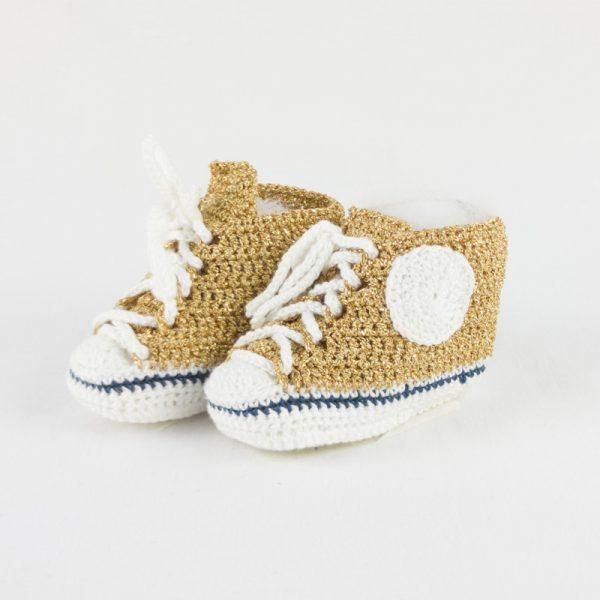 Scarpette dorate luccicanti oro GOLD BABY STAR in cotone lamé NivesCoseBelle