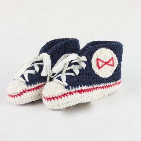 Scarpette neonato lana Blue BABY STAR blu Navy lana merino fatte a mano crochet NivesCoseBelle