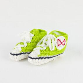 Scarpine neonati portafortuna cotone verde BABY STAR NivesCoseBelle